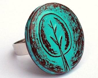 Turquoise Retro Tree Ring, Tree of Life Ring, Rustic Tree Ring, Adjustable Ring, Tree Hugger Gift, Woodland Tree Ring, Girlfriend Gift