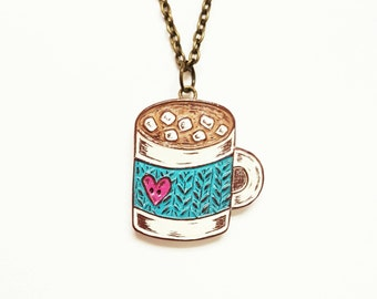 Hot Chocolate Necklace, Hot Cocoa Mug Necklace, Knit Cozy, Hot Chocolate Lover Gift, Gift for Knitter, Food Jewelry, Mom Gift, Grandma Gift