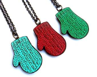 Knit Mitten Necklace, Smittens, Holiday Mitten Necklace