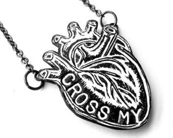 Black and White Anatomical Heart Necklace  - Cross My Heart Necklace - Promise