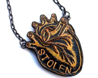 Metallic Gold and Black  Anatomical Heart Necklace  - You've Stolen My Heart Necklace - Valentine's Day Gift