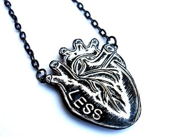 Black and White Anatomical Heart Necklace. Heartless Heart Necklace. Anti-Valentine