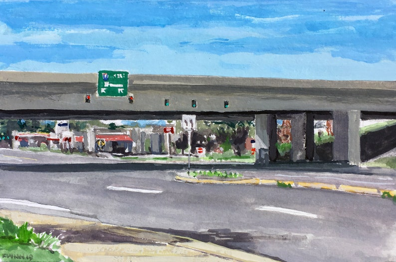 I-5 and 78th Street Hazel Dell WA Gouache Painting image 0