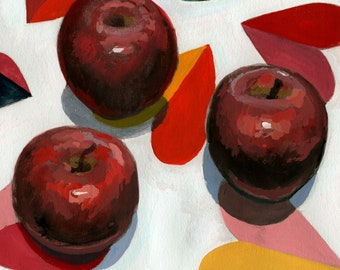 Hearts and Apples Gouache Painting