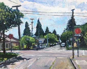 5th and Main, Hillsboro, OR Urban Landscape Oil Painting