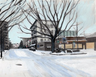 Snow Day, 6th and Broadway, Vancouver, WA Gouache Landscape