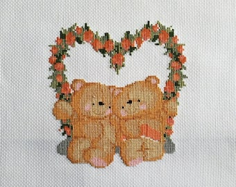 Completed Cross Stitch, Unmounted, Unframed - Forever Friends