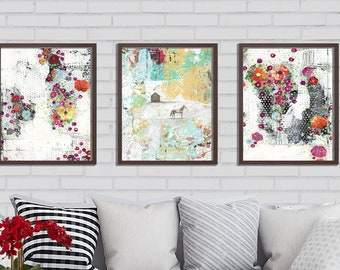 3 Piece Horse and Flowers Wall Art , DIY Modern Art , Instant Download Flower Art Print Set , Living Room Wall Art and Horse Lover Gift