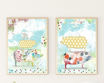 Farm Animal Print Set - Instant Download Printable Artwork , Pig Art Print and Kitchen Wall Art Set , DIY Modern Art
