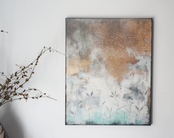 Extra Large Painting - Gold Metallic Painting , Original Abstract Floral Wall Art , Master Bedroom Art