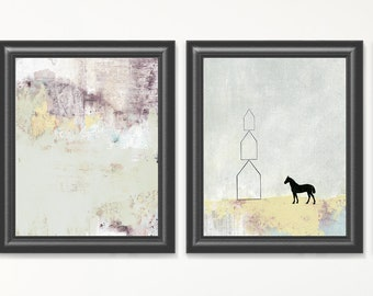 Printable Art Set, 3 Piece Wall Art , DIY Modern Art , Instant Download Botanical and Abstract Horse Set , Great Horse Lover Gift