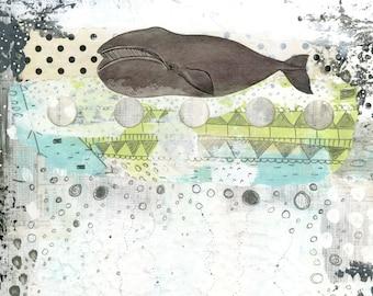 Whale Wall Art Printable - Bowhead Whale , Downloadable Whale Painting Print , Nursery Whale Art for the Nautical Nursery Decor