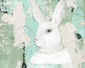 Instant Download Rabiit Picture - Seafoam Art Prints,  Bunny Office Wall Art , Digital Download Gift for the Rabbit Lover