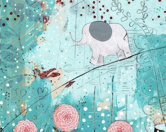 Turquoise Painting Digital Print , DIY Zoo Animal Nursery Wall Art , Modern Art For Kids Bathroom , Floral and Elephant Art Printable