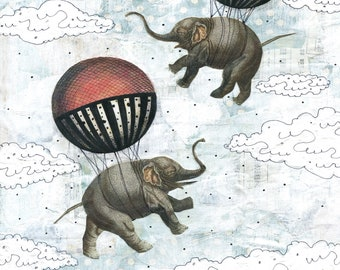 Elephants and Balloons Instant Download Art - Digital Art Prints for Kids Bathroom Art , Printable Artwork , Art For Kids