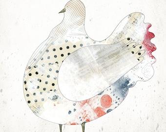 Instant Download Farm Animal Print - Whimsical Barnyard Animal Art, Blue and Beige Kitchen Wall Art , Printable Chicken Artwork