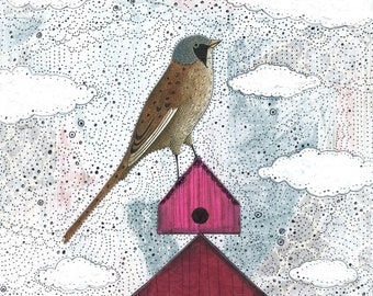 Printable Bird Artwork - Whimsical Woodland Theme Digital Print, Home Decor Wall Art , Realtor Gift Idea