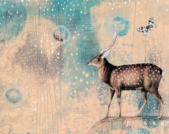 Original Acrylic Abstract Deer Painting on Cradled Board. Whimsical Mixed Media Collage Art