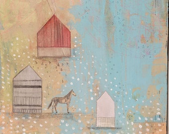 Horse Painting- Original Mixed Media Painting on Wood in  Pastel Colors, Ready to Hang