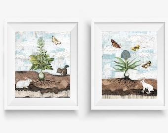 Rabbits and Botanicals Set of Floral Prints - Instant Download Printable Artwork , Neutral Wall Art , Whimsical Woodland Print Set