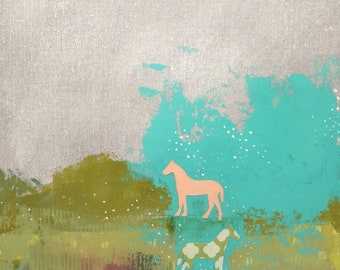 Horse Painting - Original Abstract Horse Canvas Art , Mixed Media Collage Art Painting , Makes a Great Housewarming Gift!
