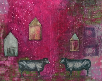 Large Abstract Cow Painting on Canvas, Whimsical Mixed Media Collage Farmhouse Painting