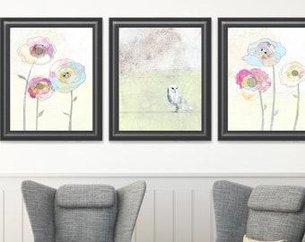 Chouette effraie Art impressions - lot de trois estampes, Printable Art ensemble, lunatiques imprimés Woodland, grande Nature murales dans une variété de tailles