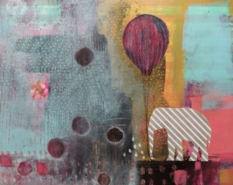 Original Elephant and Balloon Painting, Whimsical Mixed Media Collage Elephant Wall Art , Perfect for Kids Rooms
