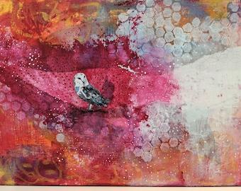 Original Acrylic Owl Painting on Wood, Colorful Abstract Animal Art