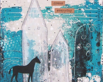 Horse Painting- Blue Wall Painting, Blue Modern Wall Art , Makes a Great Horse Lover Gift Idea!