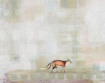 Art de renard roux - renard originale peinture sur toile, Pastel abstrait Fox Art mural animaux