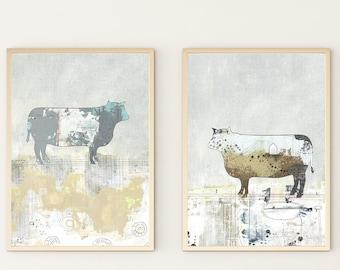 Cow Poster Print - Farm Animal Print Set, Instant Download Printable Artwork , Farmhouse Style Barnyard Animal Print