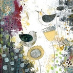 Large Wall Art Print, Bird and Flower Painting Reproduction , Large Giclee Print , Whimsical Mixed Media Abstract Art, Canvas Wall Art