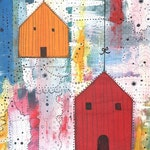 Clearance!  Modern Art Print , Birdhouse Painting  , Mixed Media Collage Art Reproduction , Whimsical Art , 5x7. print