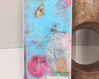 Original Acrylic Painting , Abstract Art with Inspirational Quote , Mixed Media Collage Art Landscape Painting on Cradled Board