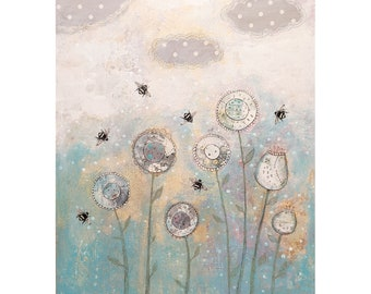 Pastel Flower and Bee Painting, Original Mixed Media Collage Painting on Canvas