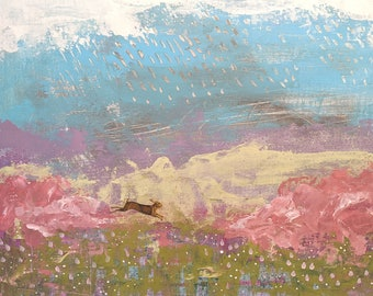Original Acrylic Abstract Landscape Painting - Whimsical Rabbit Painting on Canvas in Pastel Colors