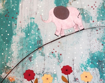 Elephant Nursery Decor- Original Whimsical Mixed Media Wall Art for Kids Rooms