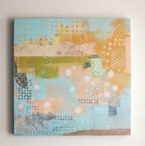 Original Geometric Abstract Painting Modern Pastel Painting On Canvas