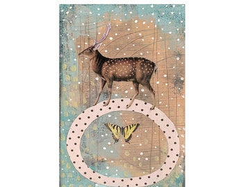 Deer Painting on Wood- Original Mixed Media Collage Painting, Makes a Great Nature Lovers Gift