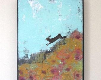 Rabbit Painting- Original Rabbit Wall Art , Vertical Acrylic Painting for Your Woodland Nursery Home Decor