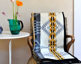 Wool Blanket Native American Inspired Design in Gray Taupe Black White