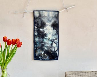 Small Abstract Fiber Art Wall Hanging/Quilt Hand Dyed & Stitched Black White Pale Blue Wool Textile Art