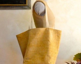 Gold Tote Bag / Medium Sized Lined Tote / Shopping or Project Bag