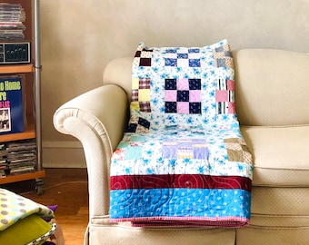 Patchwork Quilt Vintage Fabrics Newly Completed from Found Vintage Mint Original 1930s Quilt-top