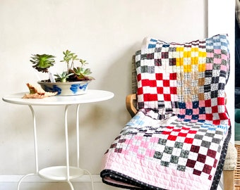 Postage Stamp Quilt Hand Quilted Newly Finished Vintage Patchwork Top