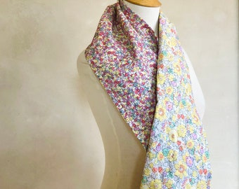 Liberty Cotton Scarf Hand Quilted Light Wool Batting Classic Floral Prints Spring Pastels