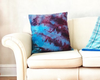 Large Wool Pillow Hand Dyed Throw Cushion Blue Burgundy Red Purple with Optional Down Insert
