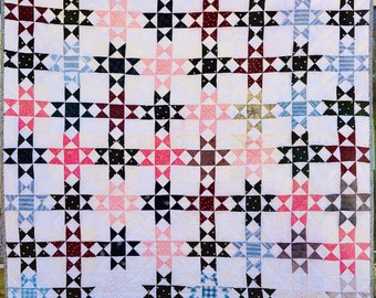 Patchwork Quilt Hand Quilted Newly Finished Hand Pieced Vintage Squares Summer White Pastels