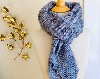 Gray Wool Wrap / Shawl Unisex Hand Knit Soft Light Wool Scarf